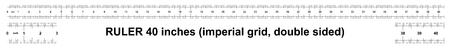 Ruler 40 inches imperial. Ruler double sided. Precise measuring tool. Calibration grid