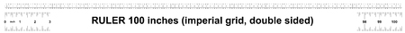 Ruler 100 inches imperial. Ruler double sided. Precise measuring tool. Calibration grid