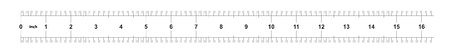 Ruler 16 inches Metric. The division price is 0.05 inch. Ruler double sided. Precise measuring tool. Calibration grid Illustration