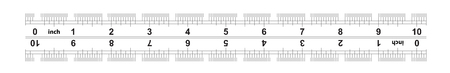 Ruler bidirectional 10 inches. The division price is 132 inch. Ruler double sided. Precise measuring tool. Calibration grid