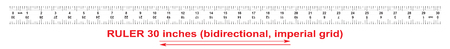 Ruler bidirectional 30 inches. The division price is 132 inch. Ruler double sided. Precise measuring tool. Calibration grid