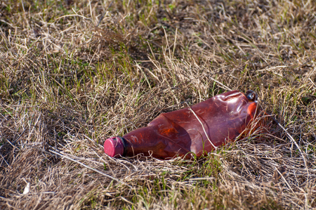 Used plastic bottle lying on the grass. The global problem of environmental pollution
