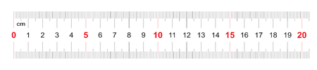 Ruler of 200 millimeters. Ruler of 20 centimeters. Calibration grid. Value division 1 mm. Precise length measurement device. Two-sided measuring instrument.