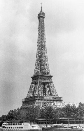 Paris, old black and white photo, august 1994. Eiffel Tower