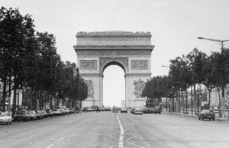 Paris, black and white photo, august 1994 Triumphal Arch