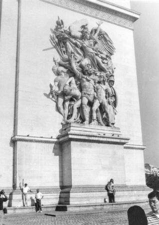 Paris, old black and white photo, august 1994. The bas-relief on the Triumphal Arch Stock Photo