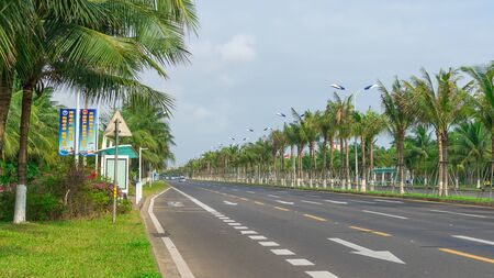 Haikou, Hainan, China - May 12, 2019: Nice view of the roadway. On the dividing line, green tropical palm trees are reinforced with metal structures to protect against frequent typhoons. Stock Photo - 128407024