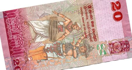 20 rupees, the currency of Sri Lanka. High resolution photo. Obverse side