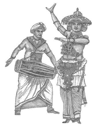 Portrait of Dancer Ves Netuma and drummer Geta Bera from a bank note of 20 Sri Lankan rupee 2010 of release