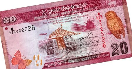 20 rupees, the currency of Sri Lanka. High resolution photo. Back side