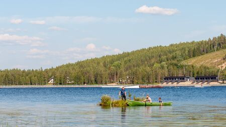 Finland - August 1, 2018. Ukkohalla Ski Resort is located in Central Finland. The most environmentally friendly air. In summer, water sports and recreation are practiced on the lake