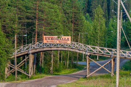Finland - August 1, 2018. Ukkohalla Ski Resort is located in Central Finland, the Kainuu region. Information sign at the entrance to the ski resort of Ukkohalla. The inscription Welcome in Finnish