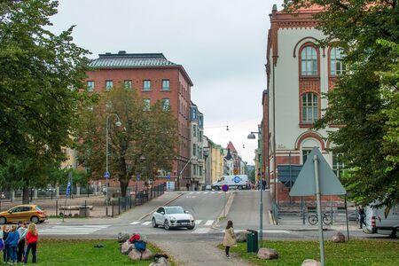 Helsinki, Finland - September 4, 2018 : Street of the capital of Finland Helsinki. The usual city bustle