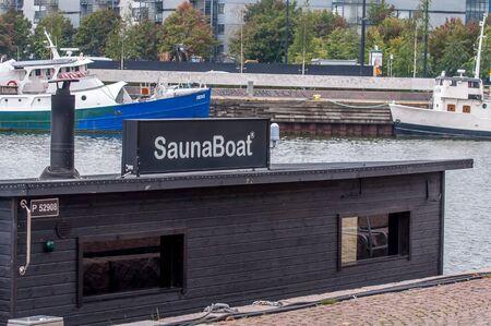 Helsinki, Finland - September 4, 2018 : Sauna boat in the port of Helsinki