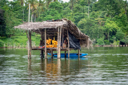 Balapitiya, Madu Ganga river, Sri Lanka - May 29, 2016: Traditional river shop. A fruit seller is waiting for tourists in his shop built on the river on stilts.
