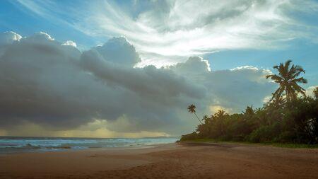 Sunset on the ocean beach, Sri Lanka.