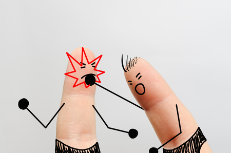 finger art, a Boxing match on a gray background Stock Photo