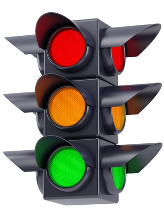 traffic signal: the traffic lights with red, yellow and green light
