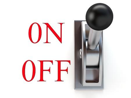 boton on off: conmutador met�lico en despegue sobre fondo blanco