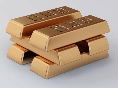 ingots: the pile of golden ingots Stock Photo