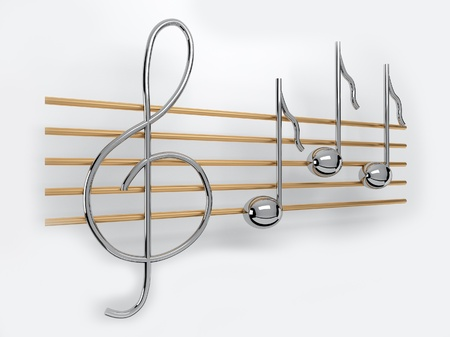 quavers: metal treble clef and notes on the staff Stock Photo