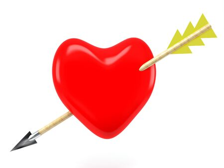 red heart and arrow on white background photo