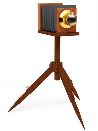 chrome base: macchina fotografica in legno antico con treppiede