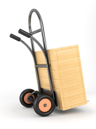 barrow: barrow truck and woden box Stock Photo