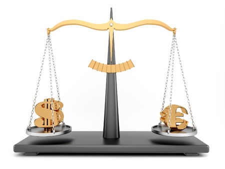 balance with signs dollar and euro photo