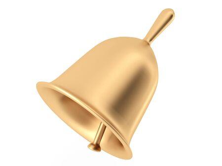handbell: brass handbell on white background