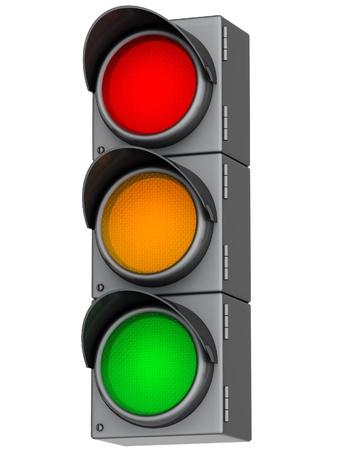 se�ales trafico: gris sem�foro con luz roja, amarilla y verde Foto de archivo