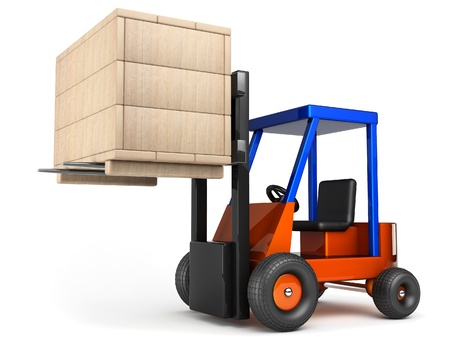 heave: forklift lift up wooden box on white background