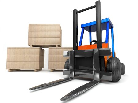 forklift and boxes on white background photo