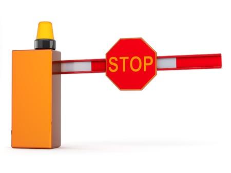 schlagbaum: Barriere mit Vorzeichen zu stoppen auf weißem Hintergrund