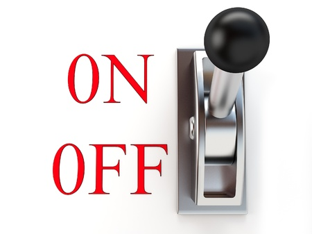 toggle: metallic switch on-off on white background