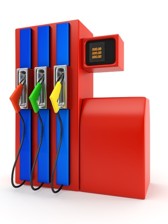 gas nozzle: red petrol pump on white background