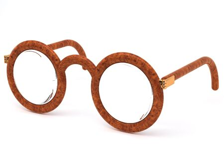 bifocals: brown eyeglasses on white background Stock Photo
