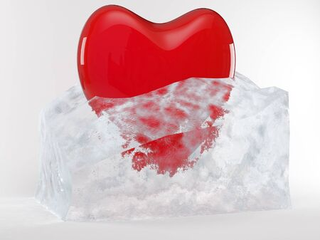 red heart in melting ice cube Stock Photo - 9007524