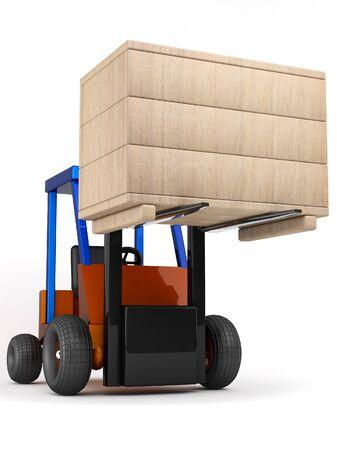 heave: forklift hoist the wooden box on white background