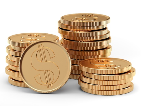 pile of money: stack of coins on white background Stock Photo