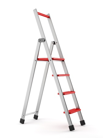 backgroud: aluminum step-ladder with red steps on white backgroud Stock Photo