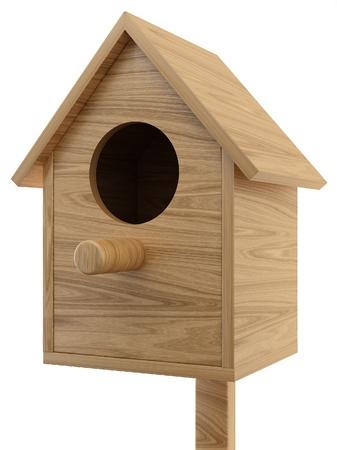 wooden birdhouse on white background Stock Photo - 9137384
