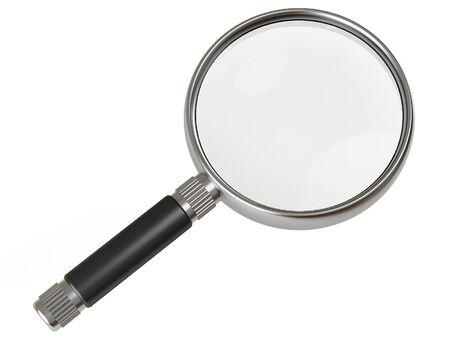 loupe: loupe m�tallique avec manche noir sur fond blanc Banque d'images