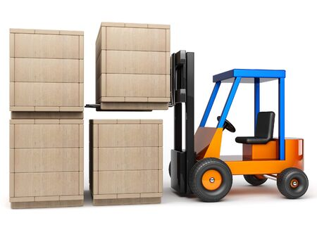 wooden crate: forklift stack wooden boxes in pile on white background