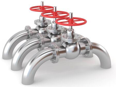 three metallic gas valves on white bsckground Stock Photo - 9137370