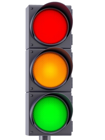 traffic control: traffic lights with red, yellow and green lights on white background Stock Photo
