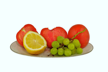 Fruit and vegetable on the dish  Stock Photo
