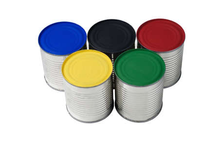 Five painted colorful cans isolated on a white background. Stock Photo - 12963070