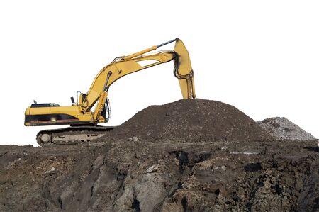 grader: Heavy building excavator in front of building site.