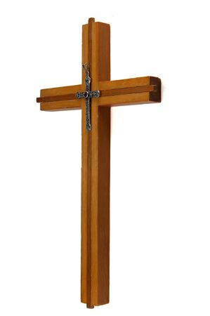 Wood cross with small metal cross isolated on a white background. Stock Photo - 13405162